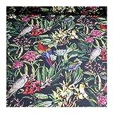 Stoff Baumwolle schwarz Dschungel Papagei Blatt Blätter