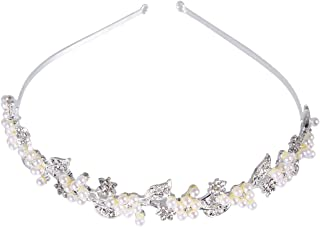 ULTNICE Rhinestone and Pearl Wedding Hairband Bride Bridal Headband Tiara Hair Accessories (Sliver)