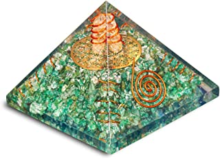 PREK Green Aventurine orgone Pyramid with 4 Copper Spring and Metal Flower of Life Size 2.5-3 inch