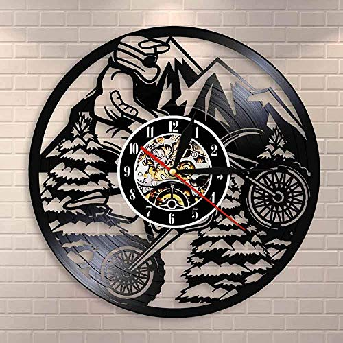 Motocicleta Mountain Biker Extreme Rider Racing BMX Reloj de Pared Cross Country Motocross Motocicleta Disco de Vinilo Reloj de Pared Regalo