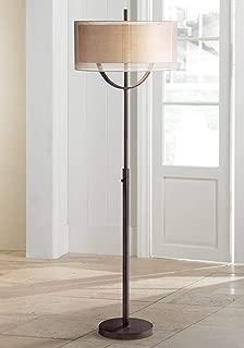 Arris Light Blaster Mid Century Modern Floor Lamp Bronze Metal Column Sheer and Textured Linen Double Drum Shades for Living Room - Possini Euro Design