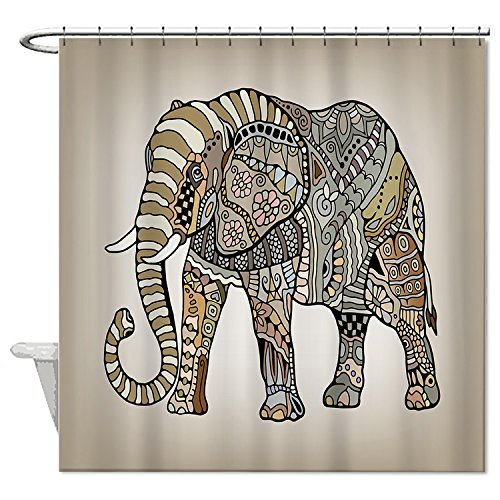 Rioengnakg Duschvorhang, Ethno-Stil, Elefant, wasserdicht, Polyester, 167,6 x 182,9 cm