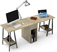 DEWEL Two Person Computer Desk with Drawers 78'' Extra Large Long Computer Desk Double Workstation Computer desks with Storage Wood Big Dual Computer Desk Executive Office Desk
