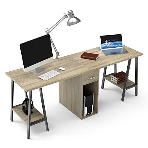 Office desk for two Built In Dewel Two Person Computer Desk With Drawers 78 Extra Large Long Computer Desk Double Amazoncom Desk For Two People Amazoncom