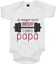 Body bebé De mayor haré Crossfit como papá - Blanco, 6-12 meses