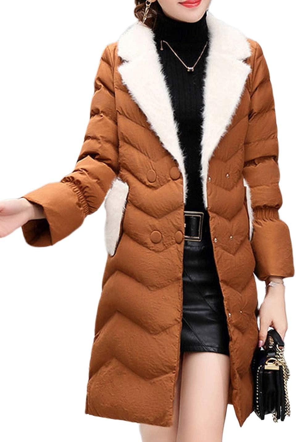 Uaneo Women's Mid Long Slim Fur Lapel Collar Quilted Puffey Jacket Winter Coat(Camel-M)