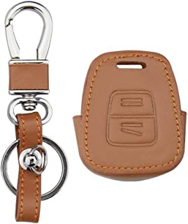 Leather Cover for Vauxhall Opel Astra Zafira for Omega Vectra Insignia 2 Buttons Car Key Case Shell Keychain Holder Blank (Brown)