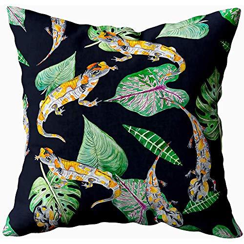 July kussenslopen, met tropische planten en vuur wild natuur textiel papier behang, grijs geel