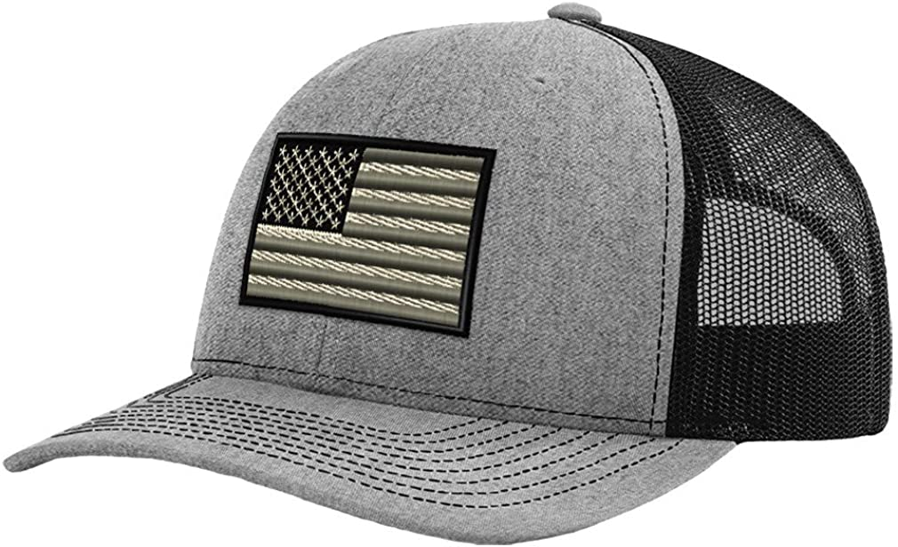 Custom Baseball Cap Black White American Us Flag Embroidery Polyester Mesh