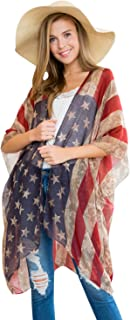 Lightweight Sheer Open Shawl Cardigan - Tassel Floral Robe, Animal Print Kimono, American Flag Cover-Up Vest, USA Scarf
