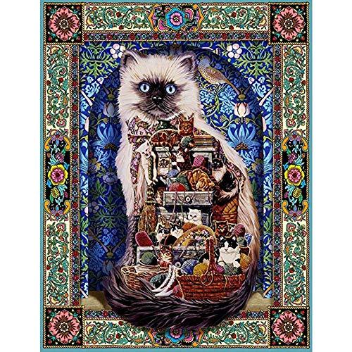 DIY 5D Diamante Pintura Kits, Kit de Pintura de Diamantes 5D Patrón gato abstracto Diamond Painting Completo Bordado Punto de Cruz Craft para Home Decoración de la Pared-Square Drill,80x100cm E4622