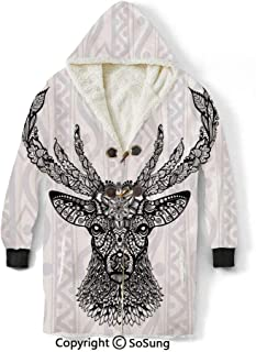 Deer Decor Blanket Sweatshirt,Figure of Aboriginal Floral Polynesian Ethnic Deer Pattern Mammal Artistic Boho Design Wearable Sherpa Hoodie,Warm,Soft,Cozy,XXXL,for Adults Men Women Teens Friends,Blac