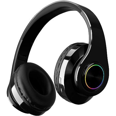 GIZMOZS Audífonos Inalámbricos de diadema,Auriculares inalámbricos con banda para la cabeza, auriculares Bluetooth plegables con entrada de audio de 3.5 mm, micrófono con cancelador de ruido integrado, entrada para tarjeta de memoria, Luces de respiración LED de siete colores, ideal para PC o teléfono inteligente (negro)