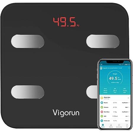Bilancia Pesa Persona Digitale Vigorun Bilancia Pesapersone Impedenziometrica 17 Dati di Misurazione del Corpo Peso/Muscolo/Massa Grassa/BMI/BMR/Tasso di Proteine/Massa Ossea
