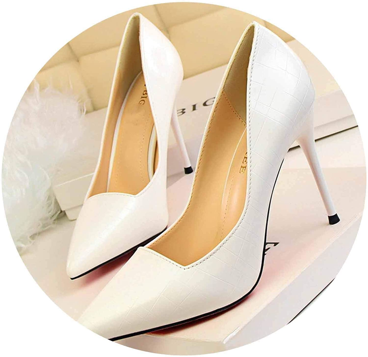 Retro Stone Pattern Women Pumps Pointed Toe Shallow Women's High Heels shoes 8 colors