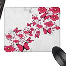 Pink and White Polyester Mouse pad Series Flowers and Butterflies in an Abstract Romantic Composition Mouse pad Senior Office W15.7 x L35.4 x H1.2 Inch Dark Coral Pale Grey Black