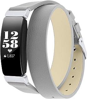 Jennyfly Bracelet de rechange en cuir compatible avec Fitbit Inspire HR/Inspire, pour femme, bracelet de montre en cuir av...
