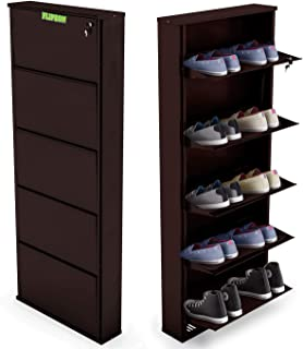 Flipzon Powder Coated Five Door Steel Shoe Rack Wall Mount Space Saver - 21-inch - 5 Door - Coffee Brown (Make in India)