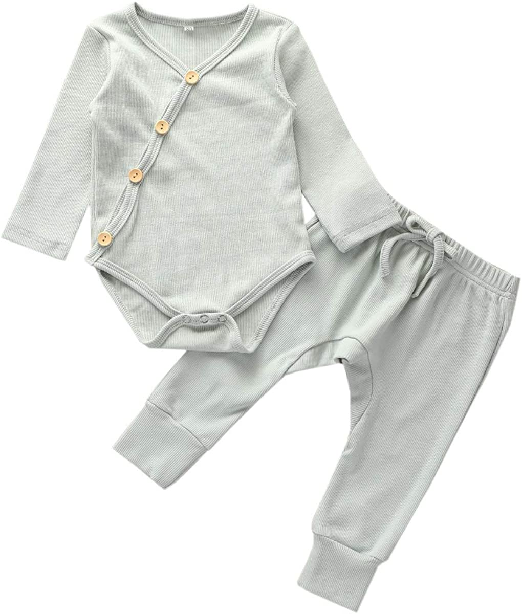 Newborn Baby Girl Boy Organic Cotton Clothes Set Knitted Ribbed Outfit 2Pcs Kimono Outfits