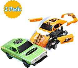 Pickwoo Toy Cars Pull Back Assemble Cars for Kids , Catapult Burst Car for Boys and Girls ,2 Pieces Take Apart Toys, Orange & Green Vehicles, for 6+ Years Old Kids
