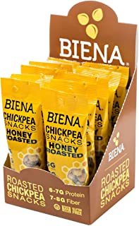 Biena Vegan Non-GMO Baked Chickpea Snacks, Honey Roasted, 10 Count