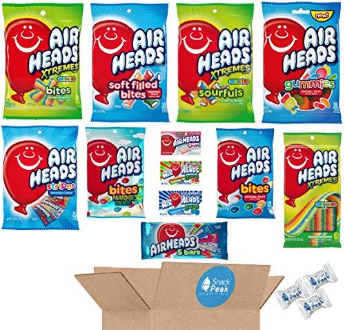 Airheads Snack Peak Variety Gift Box – Bites, Filled Bites, Paradise Bites, Gummies, Xtremes Belts, Xtremes Bites, Xtremes Sourfuls , Stripes, Original, Gum – Blue Raspberry, Watermelon, Rasp Lemonade