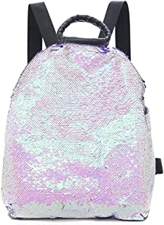 Wultia - Backpack Women Colorful Sequins Bag Versatile Portable Multi-Purpose Shoulder Bag Mochila escolar Feminina Pink