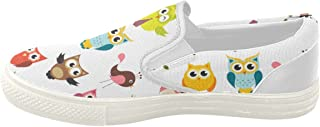 InterestPrint Owl Canvas Women's Slip On Fashion Shoes Sneaker - US8