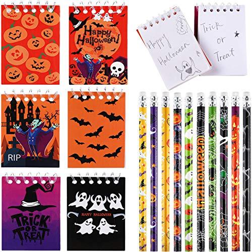 Outus 40 Piezas Cuaderno de Espiral Cuadernos de Halloween Calabaza Spiderweb Bat Vampire Lápices de Halloween para Regalo de Fiesta de Truco o Trato para Niños