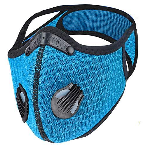 Landgift Sport Mask Reusable Activated Carbon Dustproof Respirator Mask Respirator Activated Carbon Sports Mask Filter Bicycle Mask Mountain Bike Riding Mask (Light Blue-1)