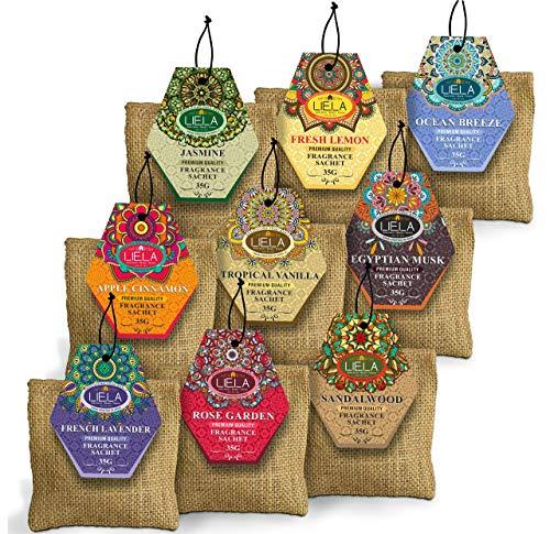 LIELA - Jute Bag Natural and Organic 4 inch x 4inch Premium Fragrance Sachets 30 Gram Each Set of 9 Lavender, Sandal, Jasmine, Rose, Vanilla, Musk, Apple Cinnamon Ocean Breeze and Fresh Lemon