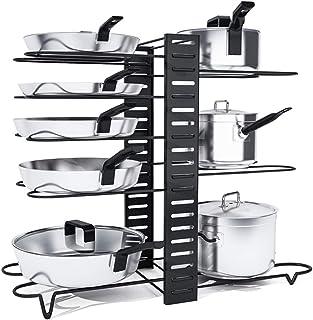 Organizador para ollas, 8 niveles desmontable, soporte ajustable para tapa de olla, 3 métodos de montaje, estante para utensilios de cocina, armario para encimera de cocina, armario