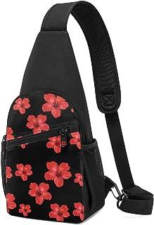 Bolso bandolera con diseño floral de hibisco rojo sin costuras, mochila ligera para el hombro, mochila cruzada, bolsas de ...