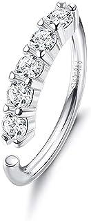 حلق بيرسينج من الفضة الاسترليني عيار 925 بتصميم اوراق شجر للنساء من ميلاكولاتو - لا يحتاج لثقب في الاذن، 18 جرام