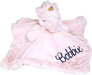 SONA G DESIGNS Unicorn Lovey Lovie Security Blanket with Rattle -Can be Custom Personalized (Pink Unicorn with Embroidered...