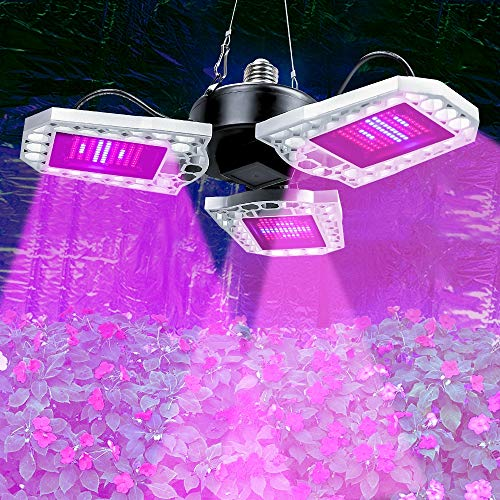 ZJING 300W Daylight Full Spectrum LED Grow Light Bulb, Foldable LED Grow Light for Indoor Plants, Plant Light for Hydroponic Greenhouses, Houseplants, Vegetable Tobacco, Sunlight White E26/E27,300W