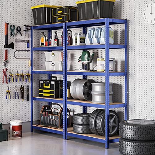 SONGMICS Lagerregal 180 x 90 x 45 cm Schwerlastregal max. mit 1325 kg belastbar Kellerregal mit pulverbeschichteter Oberfläche Steckregal GLR45Q