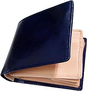 Maturi マトゥーリ プッチーニイタリアンレザー×日本製ヌメ革 二つ折財布 MR-018 ネイビー 紺