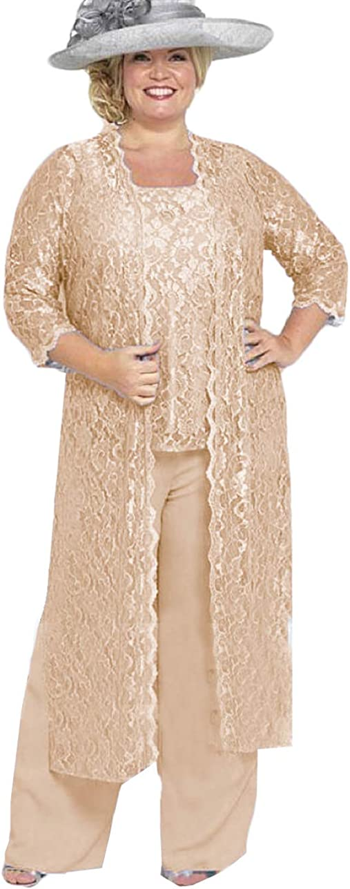 Xixi House Plus Size Mother of The Bride Dress for Weddings 3 Pieces Lace Pant Suits Elegant Dresses for Evening Party