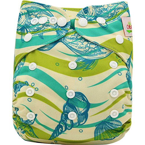 Ohbabyka réglable Unisexe en tissu pour bébé couches de poche avec 1pièce en suède doux Chiffon intérieure