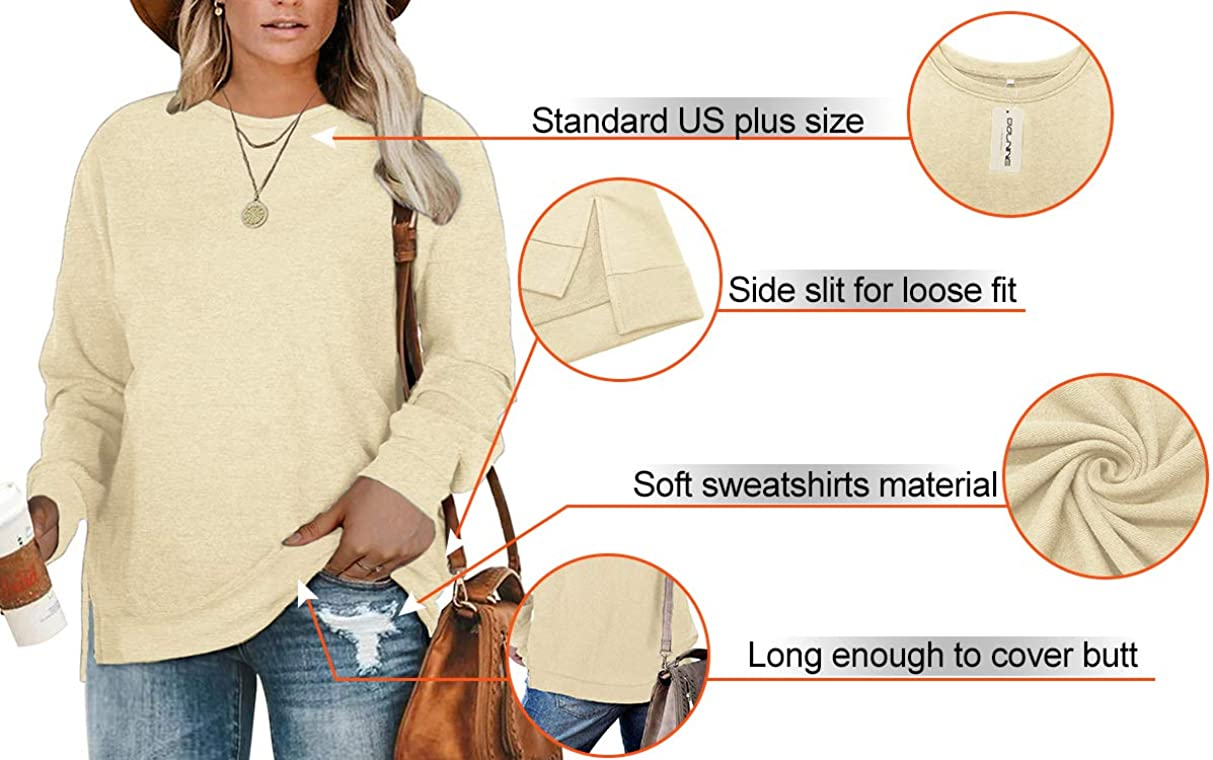 DOLNINE Plus-Size Sweatshirts for Women Casual Tops Side Slit Pullovers Shirts