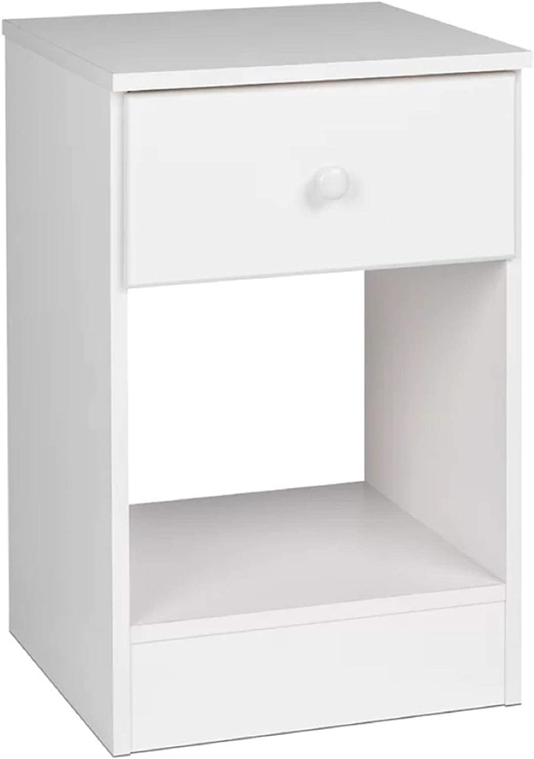 Nightstand. Smooth Running Drawer Glides, Safety Stops Bailey 1 Drawer Nightstand with Shelf, Dimension 12  H x 14.5  W x 14.5  D (White)