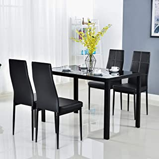 Modern 5 Pieces Dining Table Set Glass Top Dining Table and Chairs Set for 4 Person,Black
