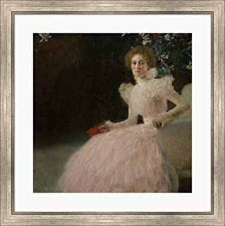 Mrs. Sonja Knips by Gustav Klimt Framed Art Print Wall Picture, Silver Scoop Frame, 28 x 28 inches