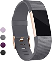 Compatible Fitbit Charge 2 Band, Hotodeal Classic Soft TPU Adjustable Replacement Bands Fitness Sport Strap, Silver/Rose...