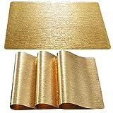 Qualsen Platzsets Abwischbar 8er Set Waschbar Tischset Abriebfest Platzdeckchen (Gold-Wasser Muster)
