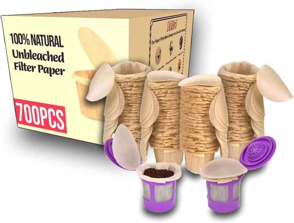 2021 model Delibru Unbleached Large discharge sale Paper Filters with Lid for Cups 7 K Reusable
