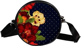 COOSUN Umhängetasche mit Blumenmuster, Vintage, rund, Schultertasche, Handtasche, Handtasche, Umhängetasche, für Kinder un...