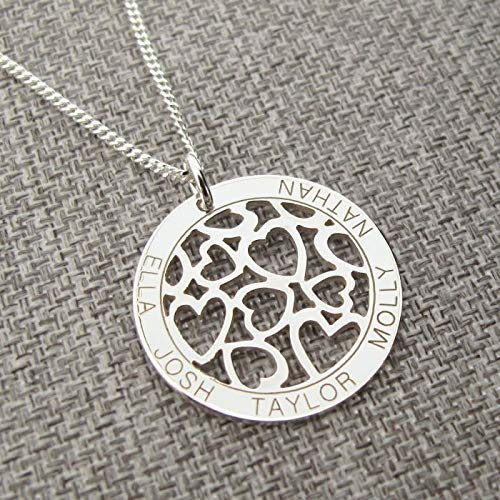 Sterling Silver Personalised Hearts in Engraved Disc Pendant or Necklace with optional Chain - Gift Boxed