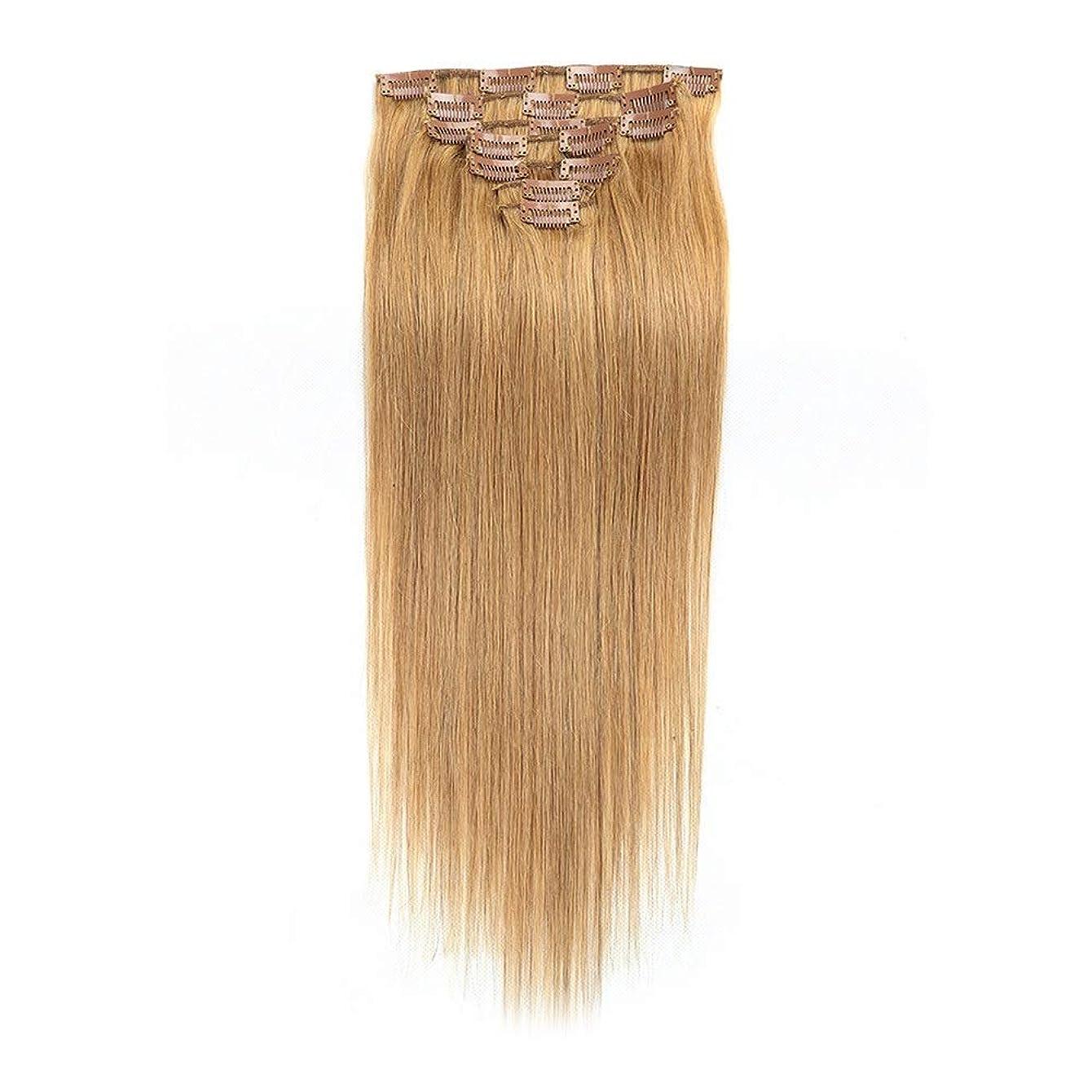 津波爆発するコースHOHYLLYA ヘアエクステンション人間の髪の毛の色#27ブロンド22インチストレートヘアロールプレイングかつら女性のかつら (色 : #27 blonde)